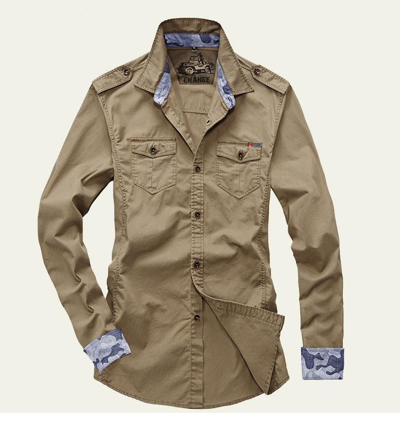 Shirt men style military long sleeve ebay for Mens military style long sleeve shirts