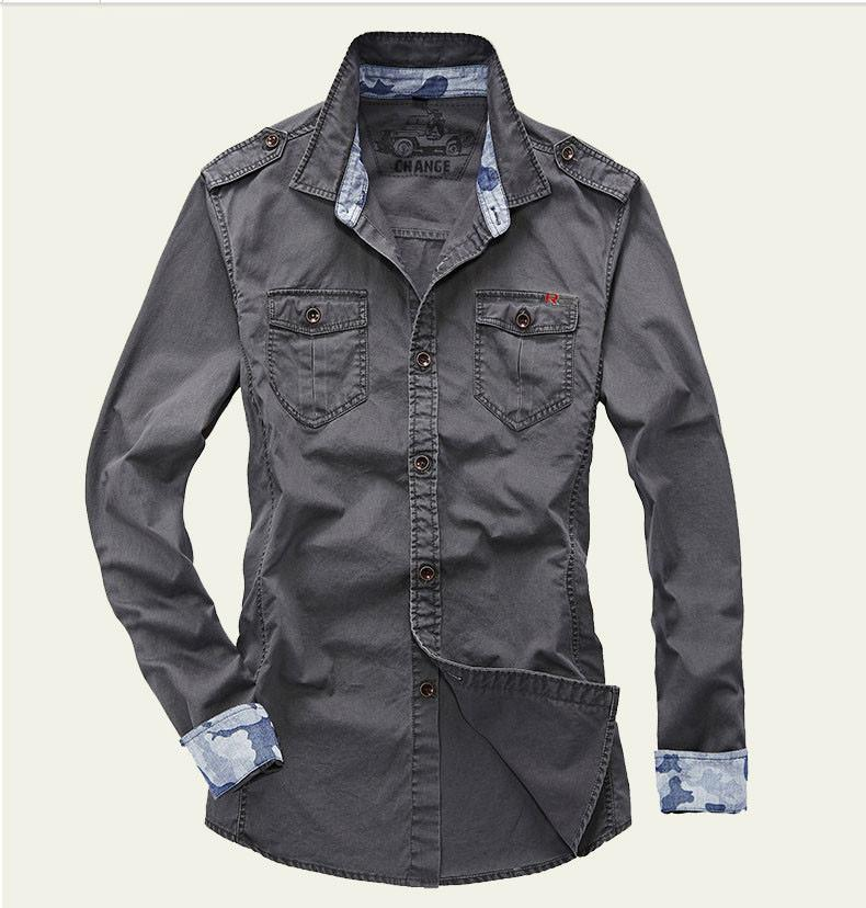 Shirt Men Style Military Long Sleeve Ebay