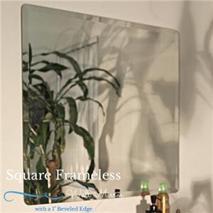 square frameless beveled edge wall mirror bathroom unframed 18 24 30 36. Black Bedroom Furniture Sets. Home Design Ideas