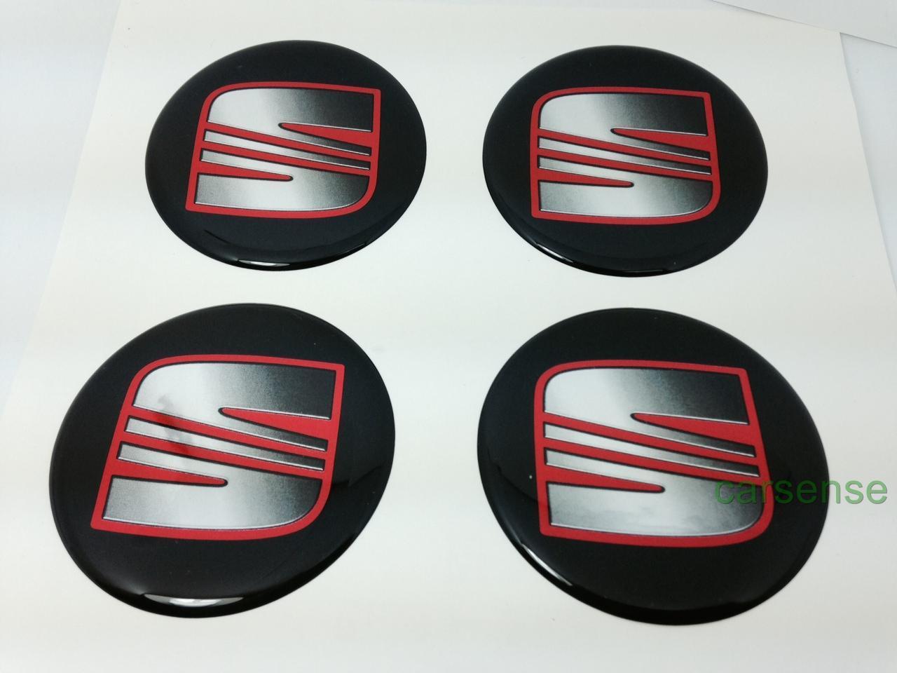seat 55mm autocollant centre de roue cache moyeu jante etiquette silicone noir ebay. Black Bedroom Furniture Sets. Home Design Ideas