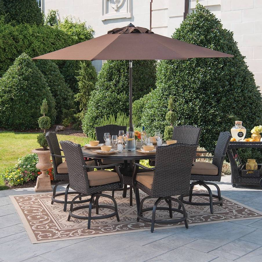 Outdoor Furniture Patio Dining Set Wicker Rattan 7pc Balcony Height Swivel De