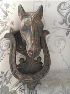 Cast iron horse door knocker horseshoe vintage french country shabby chic style ebay - Horse head door knocker ...