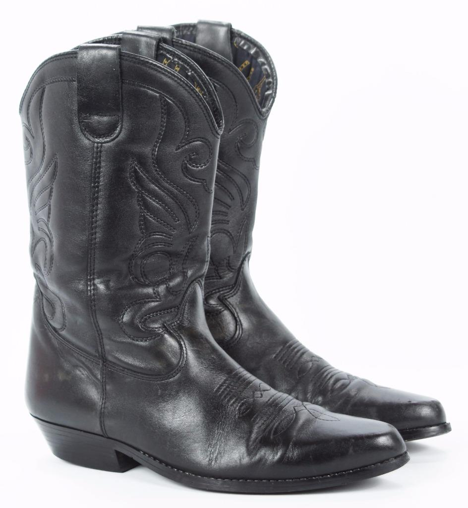 vintage black leather cowboy western boots rock and roll