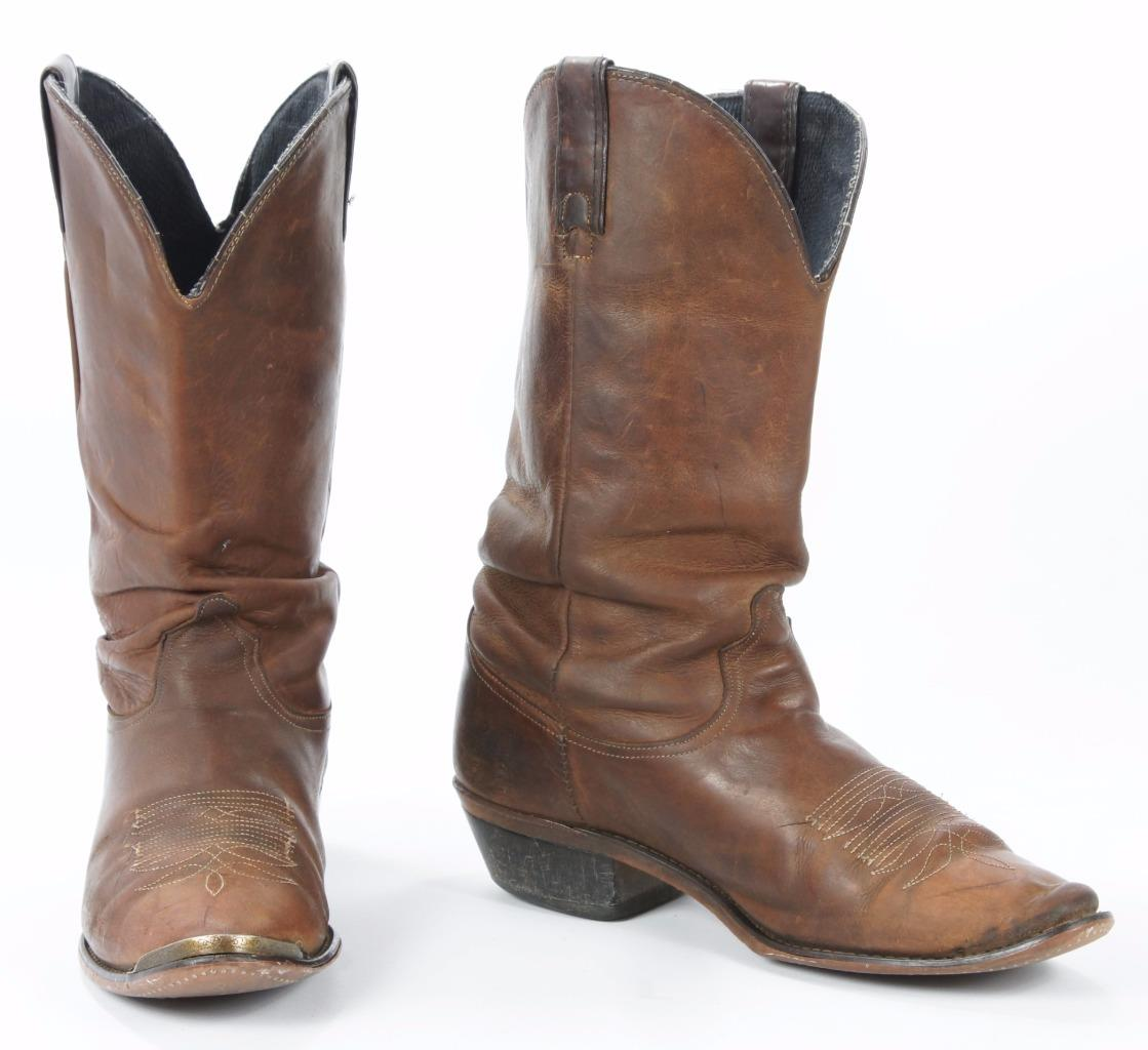 vintage brown leather slouch cowboy western boots metal