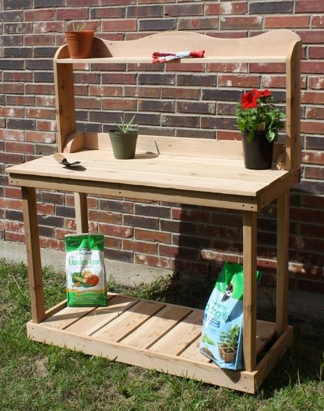 New 6 Foot Decorative Cedar Potting Bench Gardening Plant Benches Upper Shelf