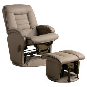 Leather Swivel Beige Glider Recliner Chair Ottoman