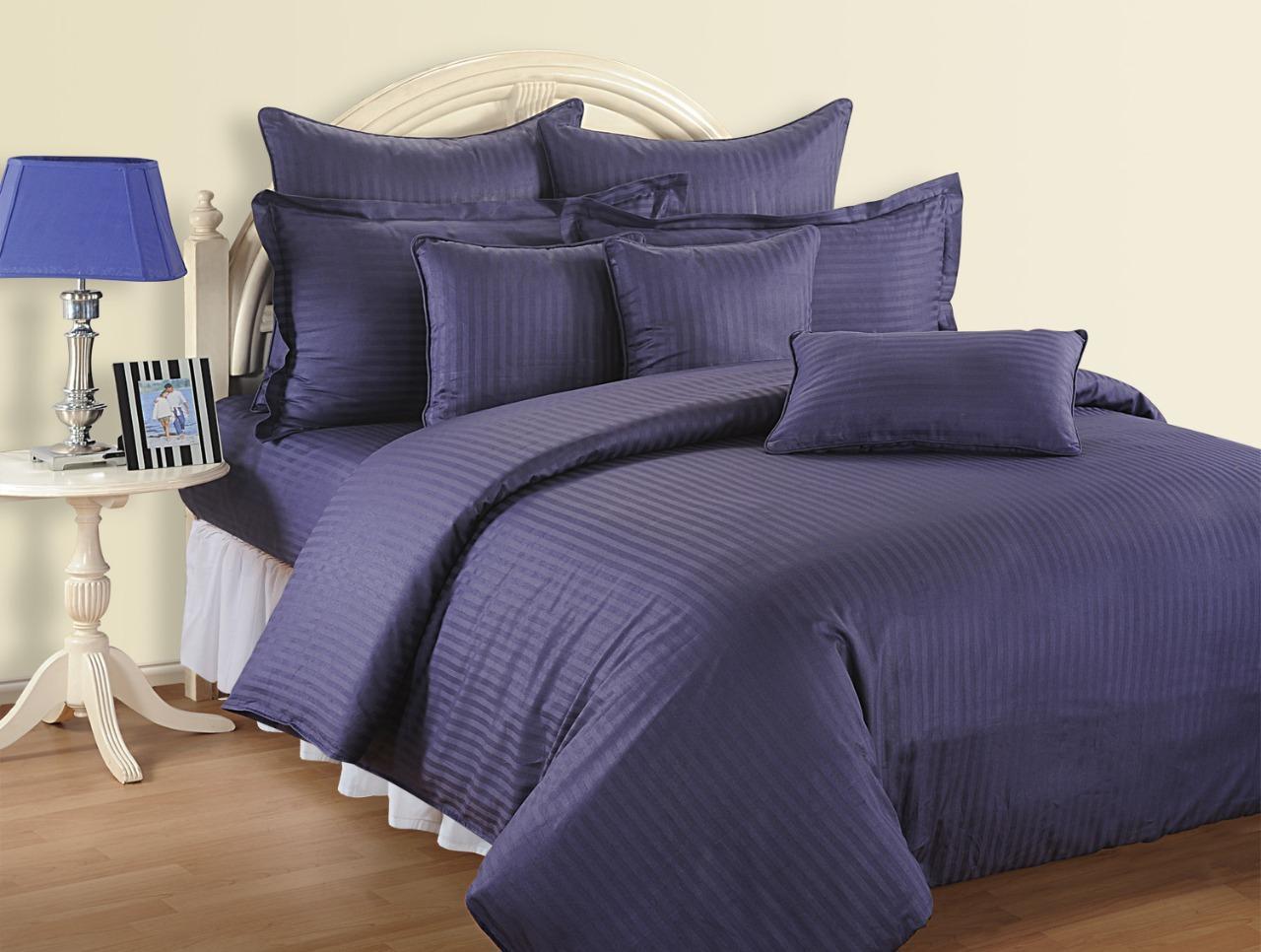 4 pcs sateen 500tc queen cotton stripy duvet quilt cover set fitted bed sheet ebay. Black Bedroom Furniture Sets. Home Design Ideas