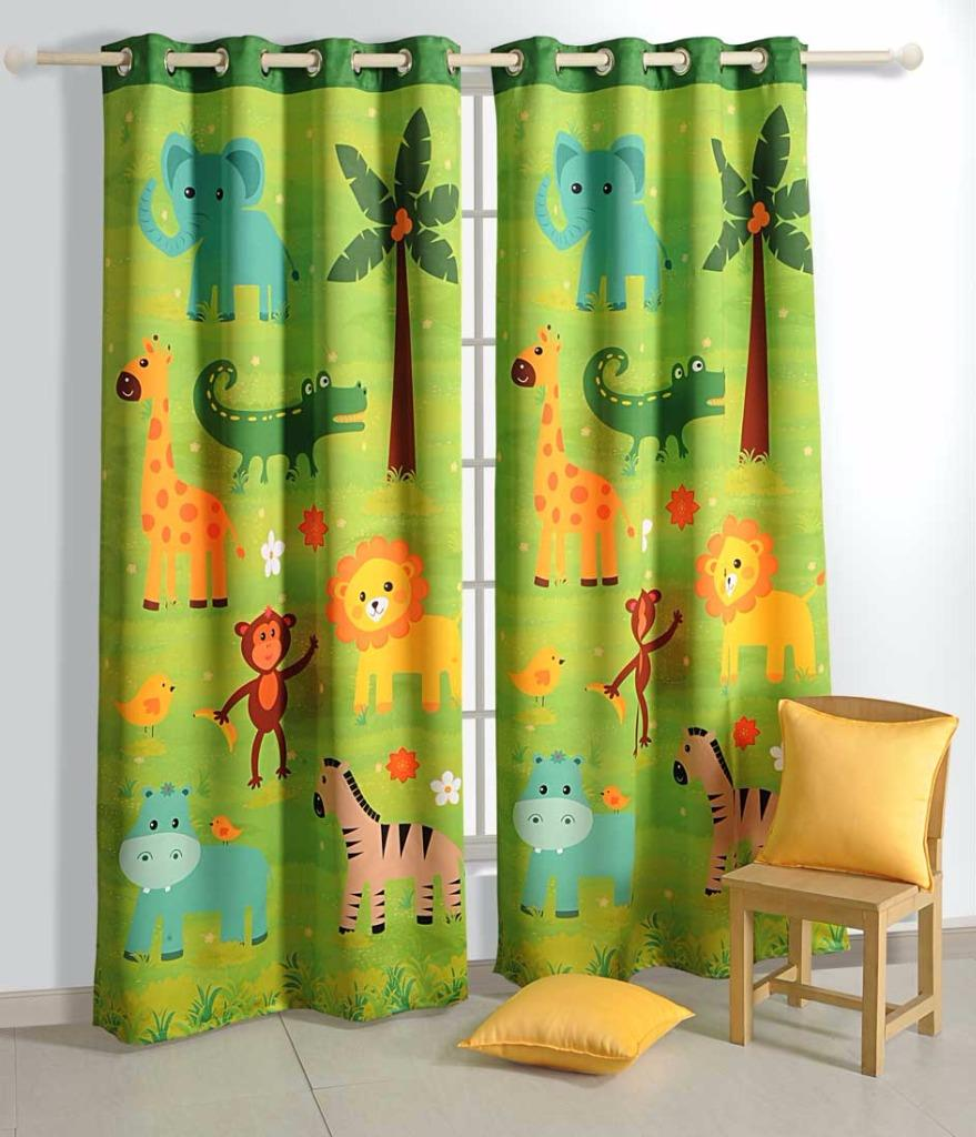 printed jungle friends kids baby blockout eyelet green 1 xcurtain 130x220cm ebay. Black Bedroom Furniture Sets. Home Design Ideas