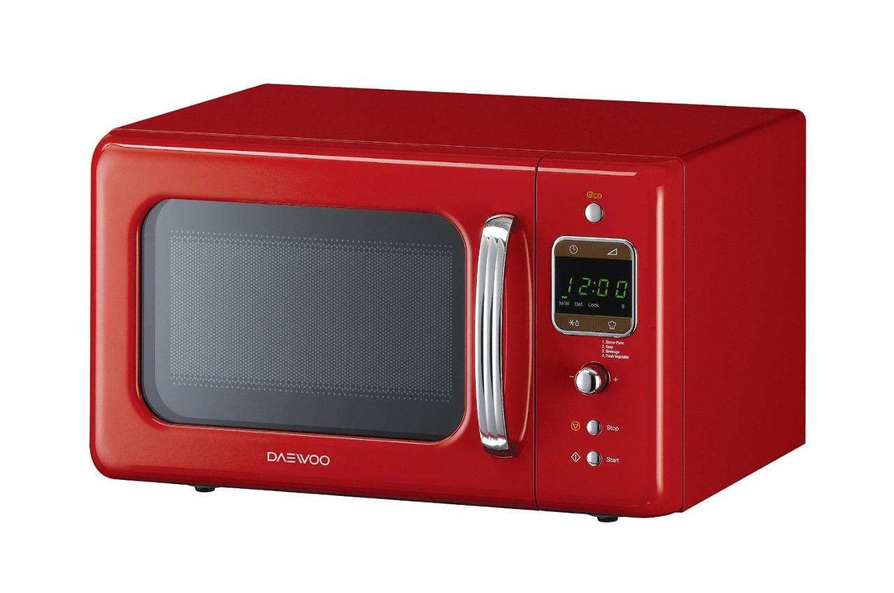 daewoo kor7lbkr retro style free standing microwave 20l red new. Black Bedroom Furniture Sets. Home Design Ideas