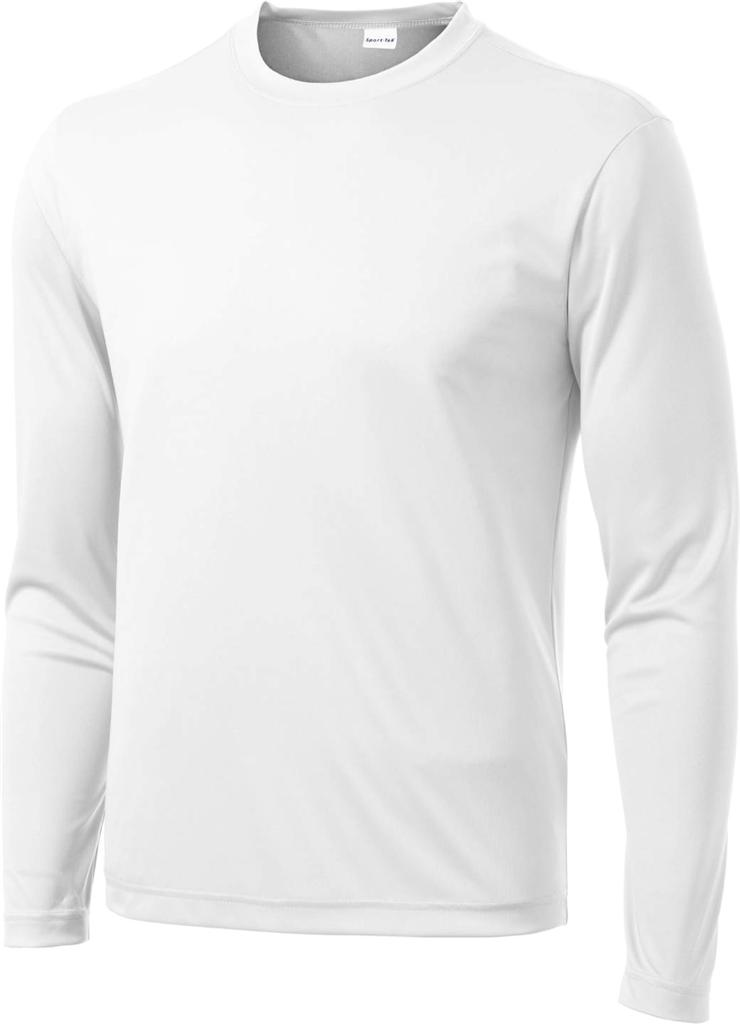 Mens dri fit long sleeve sport tek moisture wicking for White dress workout shirt