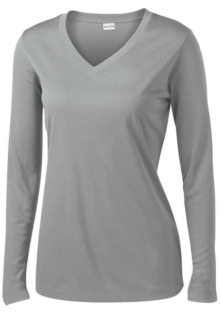 Ladies Dri-Fit Long Sleeve V-Neck Sport Tek Moisture ...