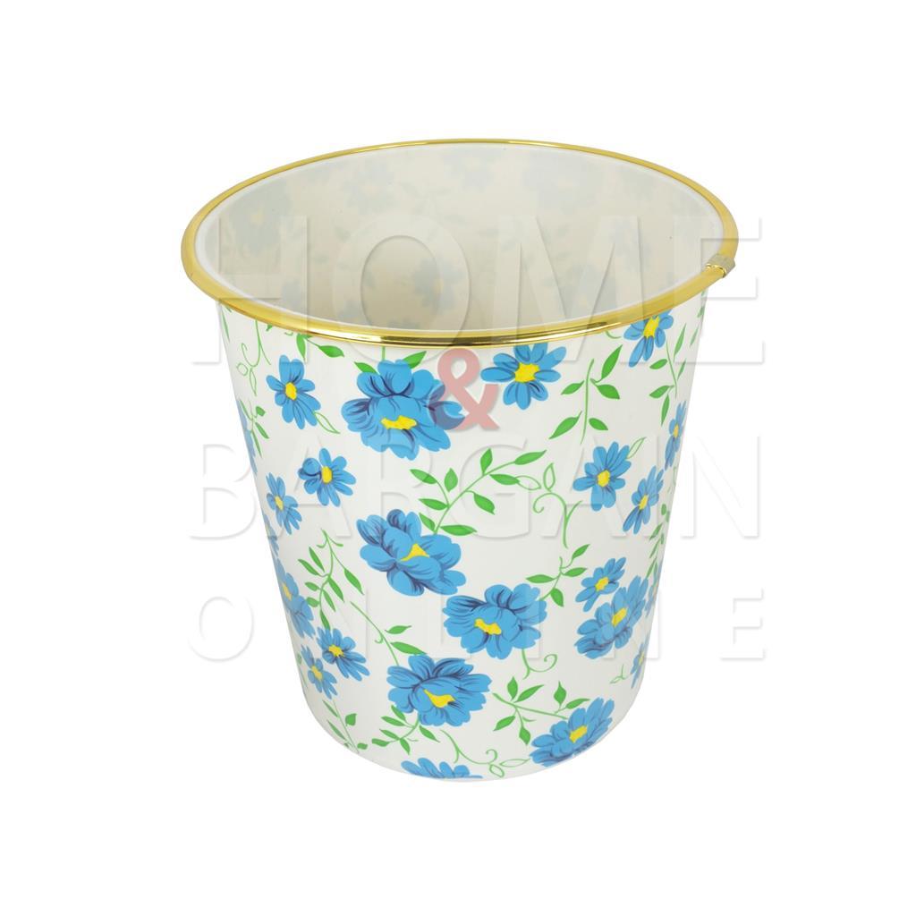 Plastic Waste Paper Bin Flower Design Home Office Bedroom