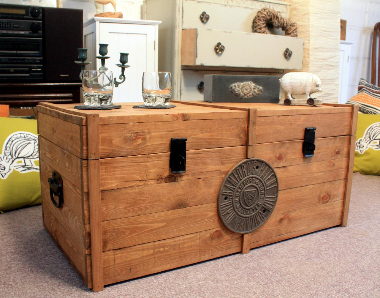 Rustic Wooden Chest Trunk Blanket Box Antique Style Coffee Table Gwr Tv Stand Ebay