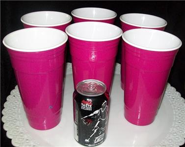 6 Hot Pink Mauve 32 Oz Plastic Party Cups Double Wall