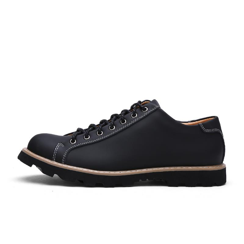 mens genuine leather autumn lace up casual shoes low cut