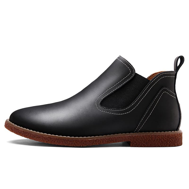 mens genuine leather slip on casual ankle chelsea boots
