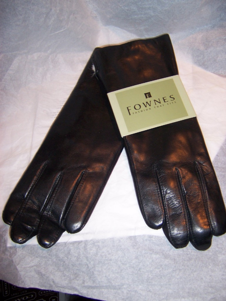 Fownes Women's Rabbit Fur Lined Black Napa Leather Gloves