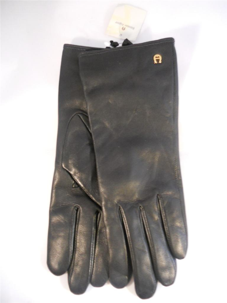 Etienne aigner black leather gloves - Etienne Aigner Gloves 100 Cashmere Genuine Leather Gloves