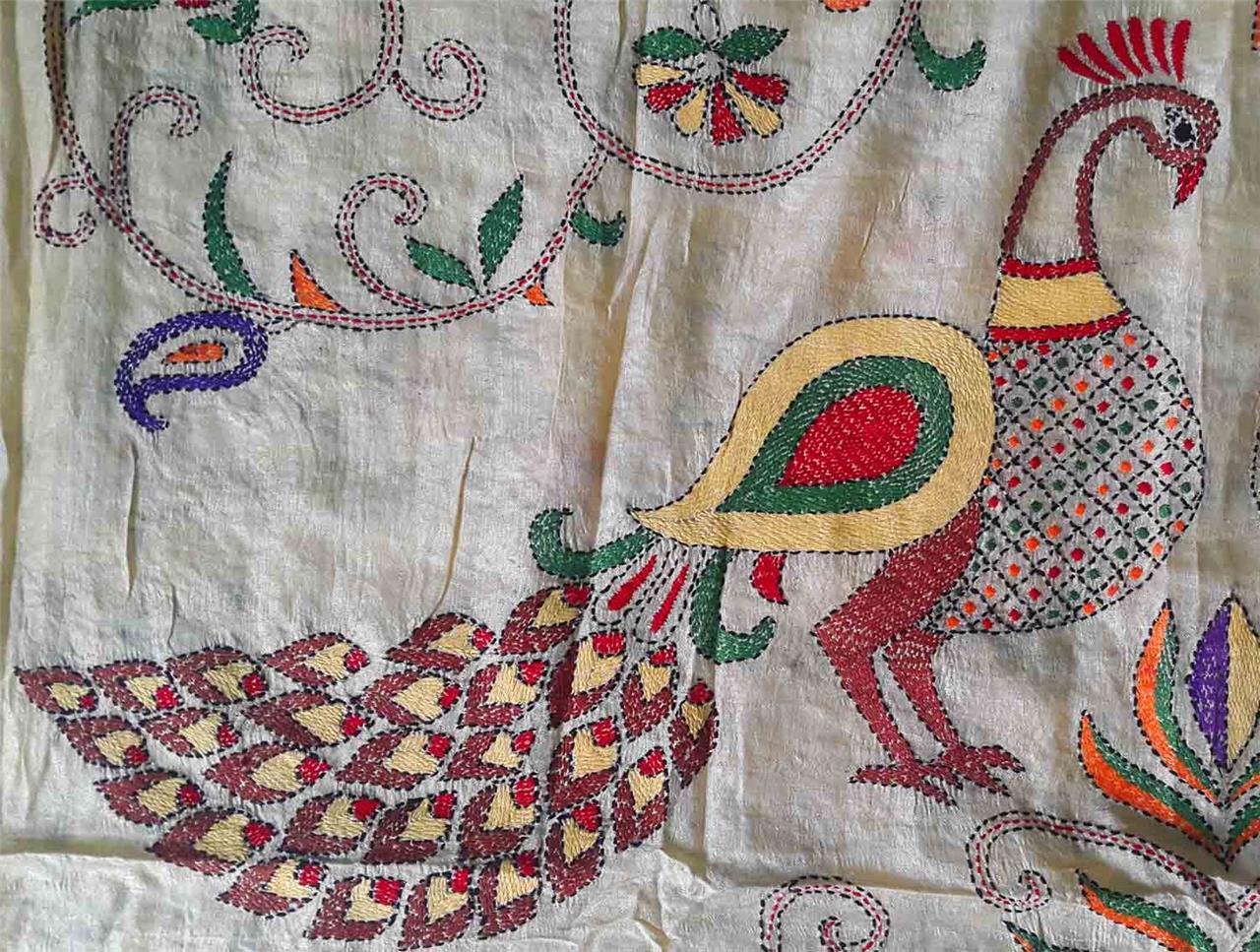 India ethnic designer sari kantha stitch hand embroidery