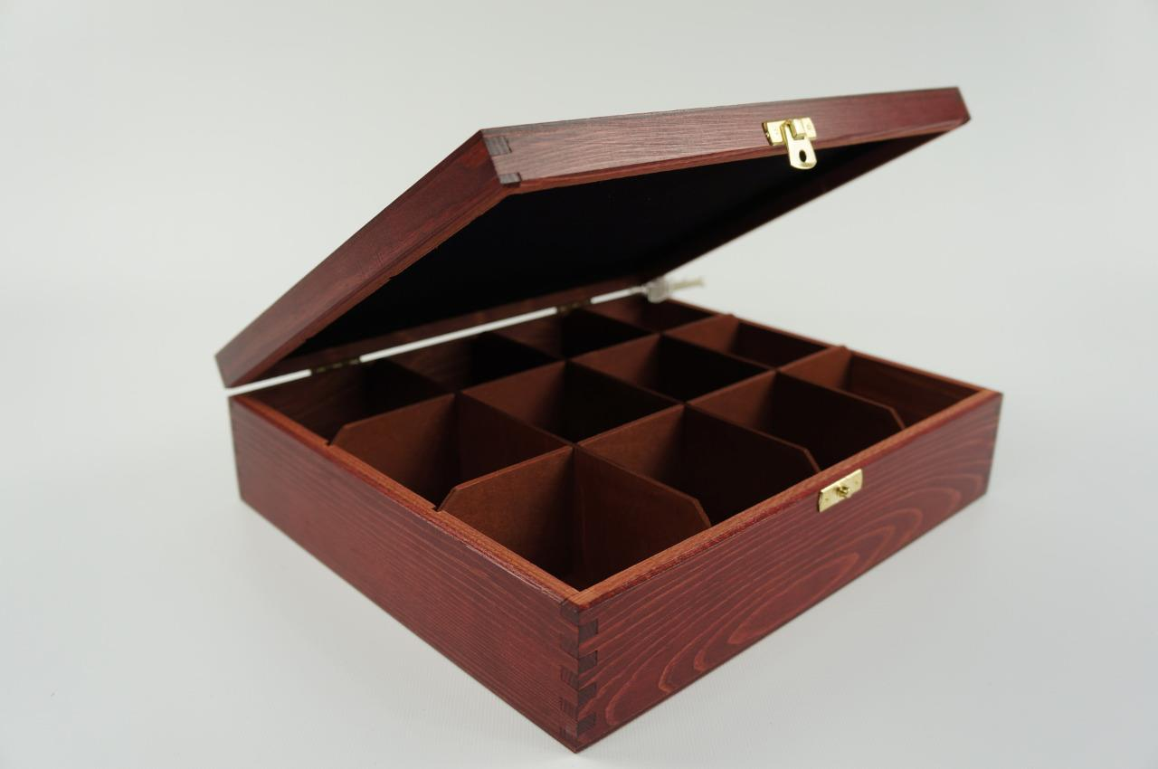 Wooden Tea Box Tea Bag Chest 12 Compartments Tea Caddy ...