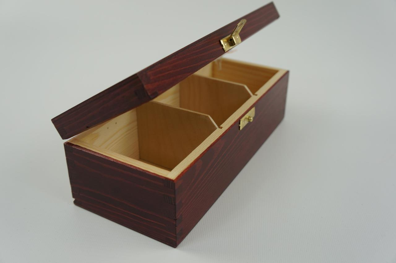 Wooden Tea Box Bag Chest 3 Compartment Laquered Mahogany ...