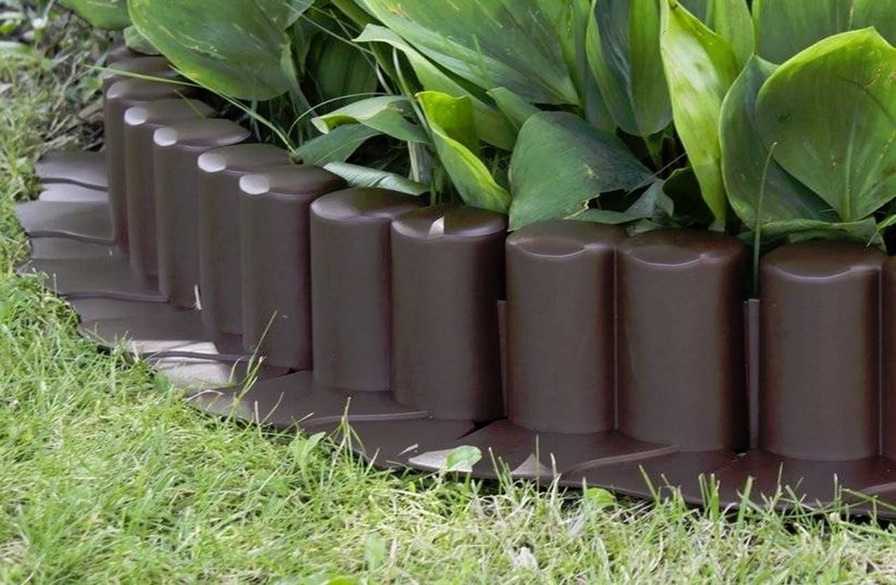 Plastic Garden Fence Panels Boarder Lawn Palisade Edge Patio Fencing BROWN AL