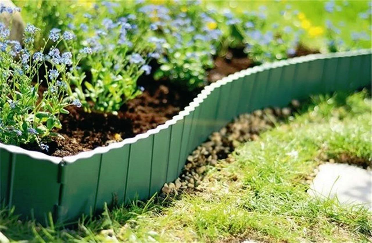 Plastic Garden Fence Panels Boarder Lawn Palisade Edge Patio Fencing BROWN KR