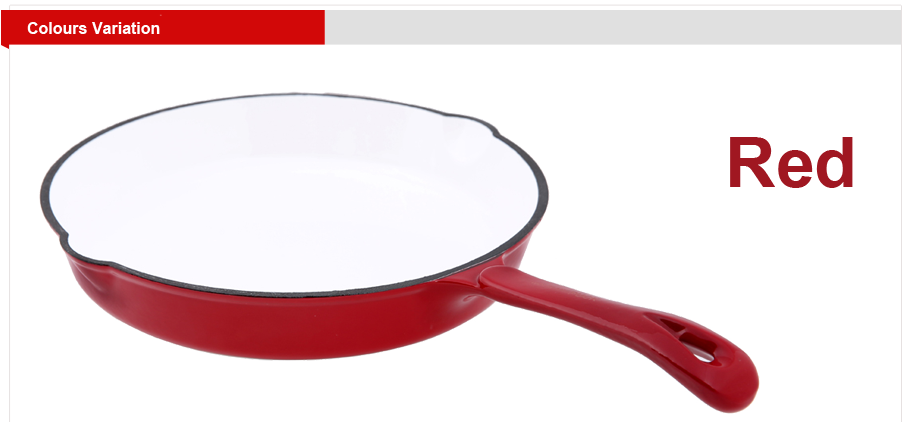 Red cast iron frypan