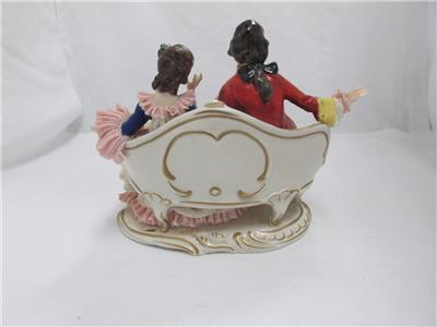 Vintage dresden marked figurine of couple seated on sofa for Sofa 9 dresden