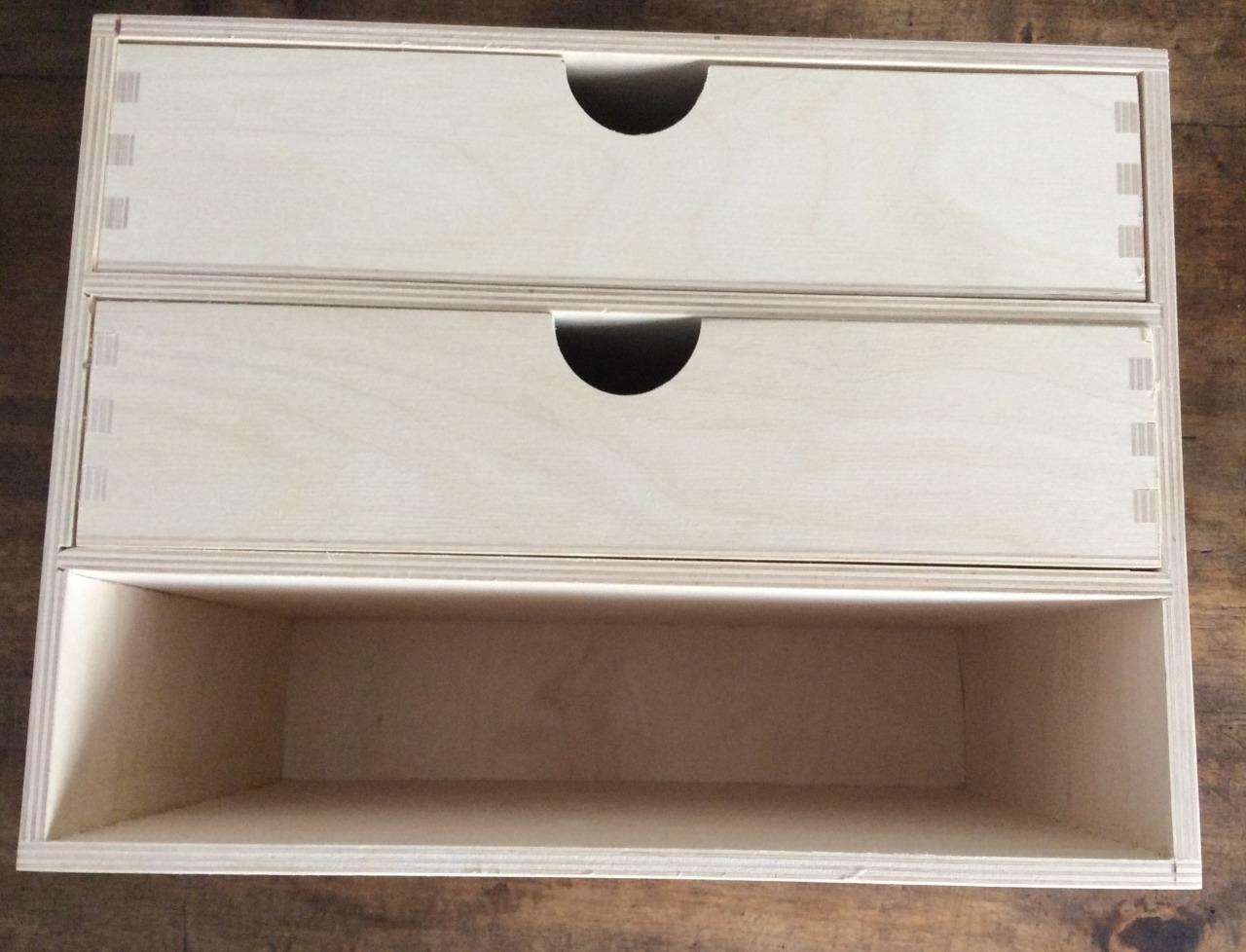 Universal schubladenbox 3 schubladen buerobox holzbox for Schubladen aufbewahrung