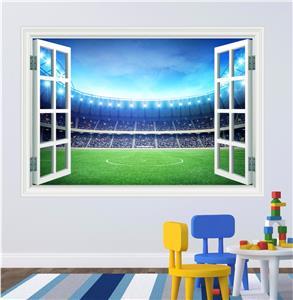 football stadium boys kids bedroom window wall art sticker soccer ball football wall sticker decal kids room decor