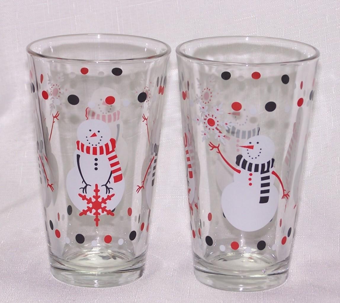 Christmas snowman drinking tumblers glasses libbey ebay