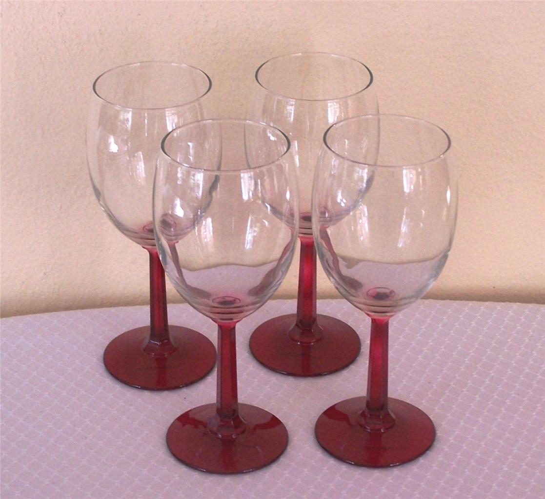 Libbey Glass 4 Napa Country Red Stem Wine Goblets