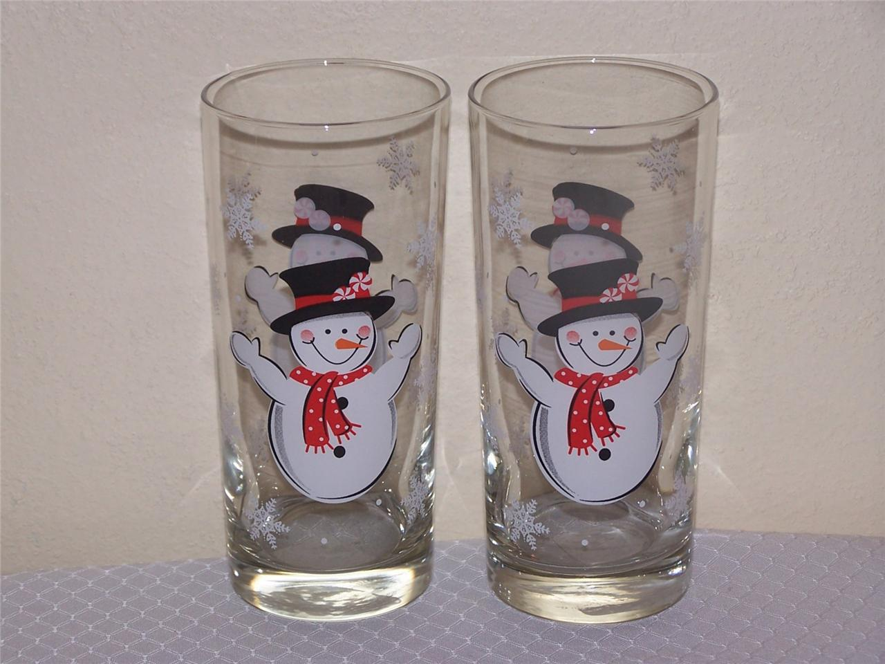 New libbey glass christmas oz happy snowman tumblers
