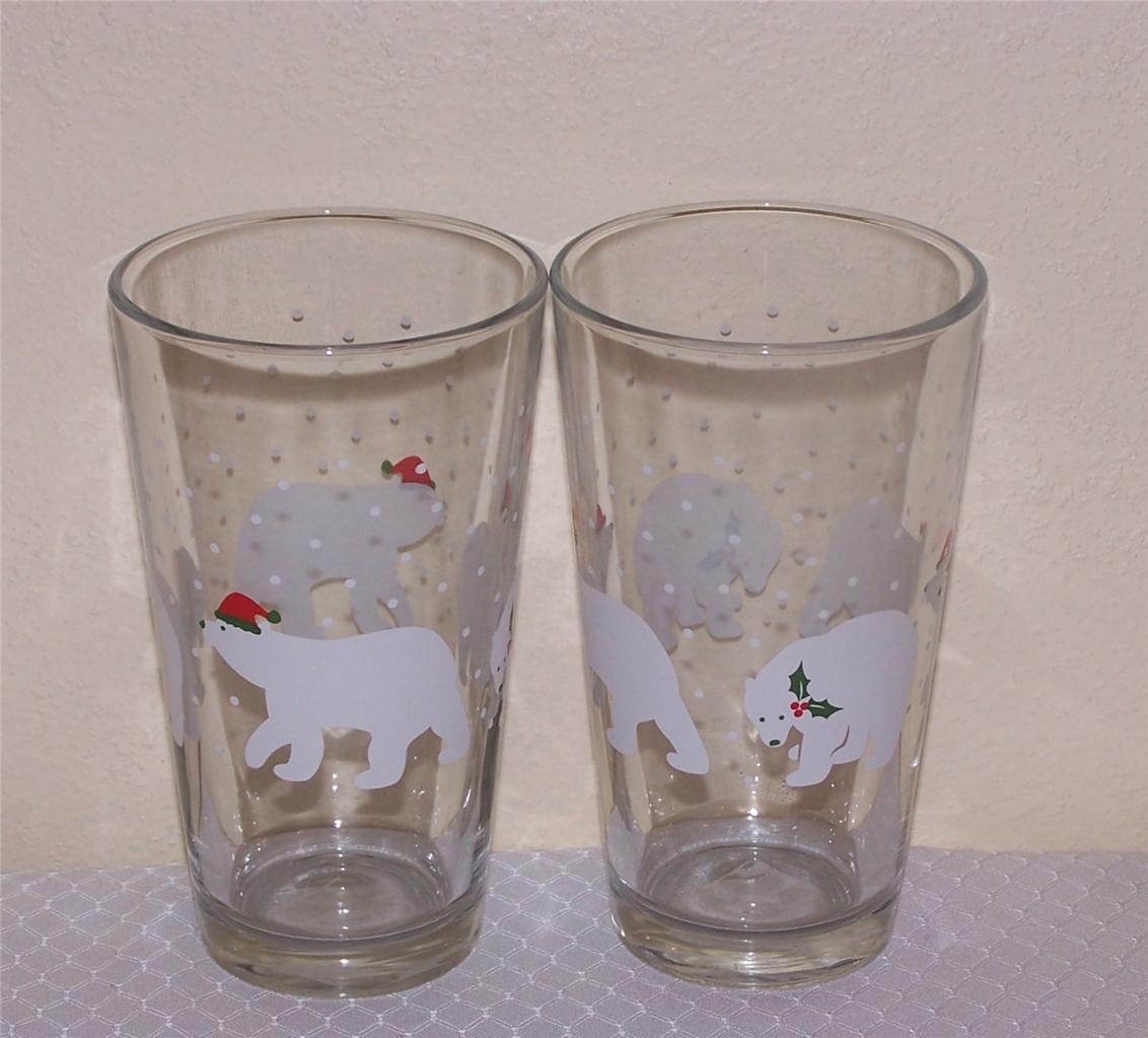 Libbey glass christmas oz polar bear tumblers drinking
