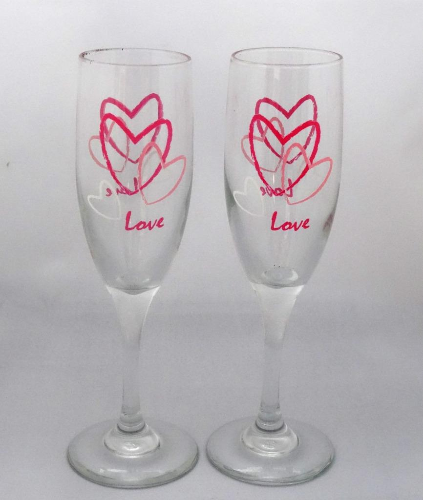 Libbey Glass 2 Pink & Red Heart Embassy Champagne Flutes