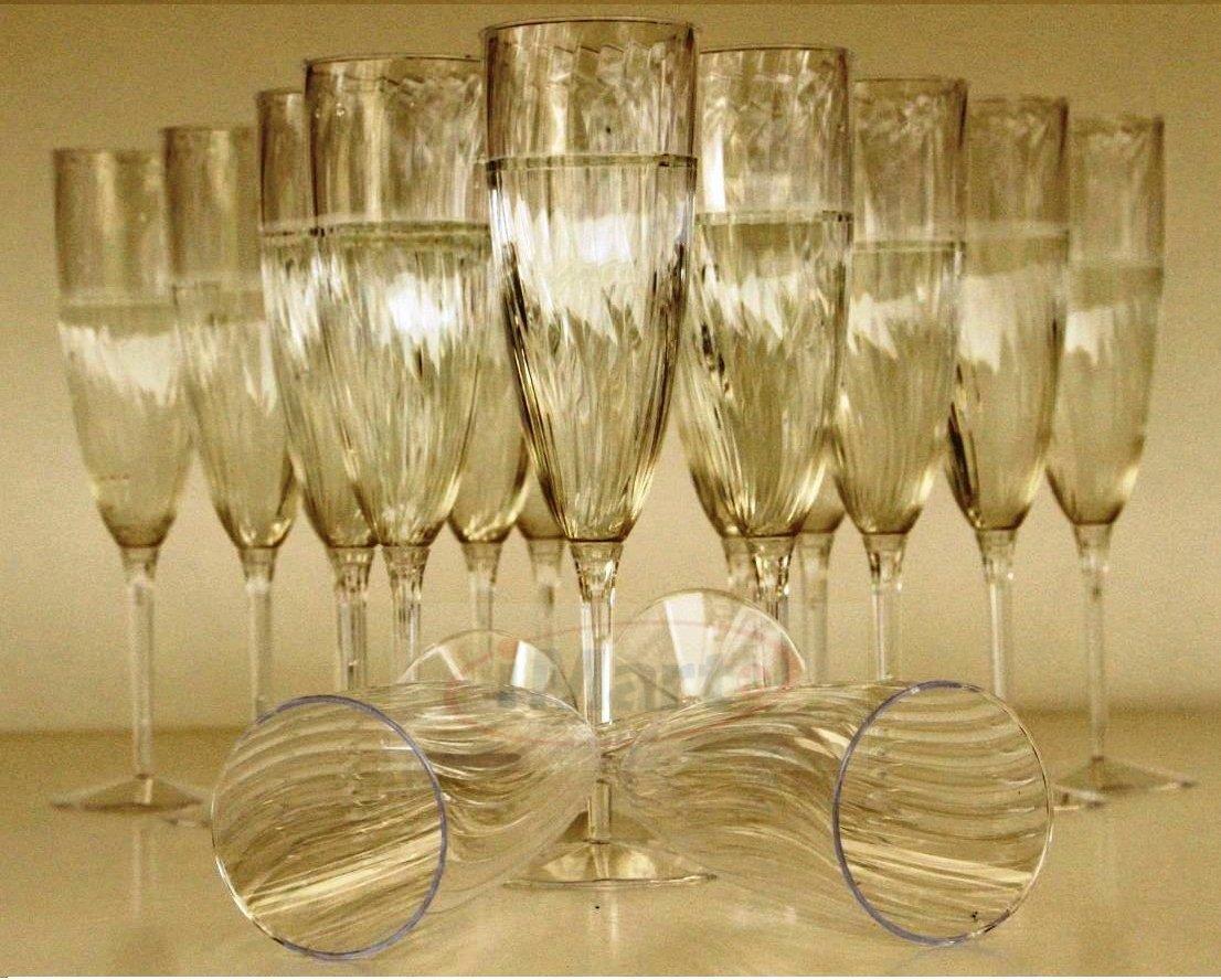 24x Elegant Disposable Premium Plastic Wine Champagne