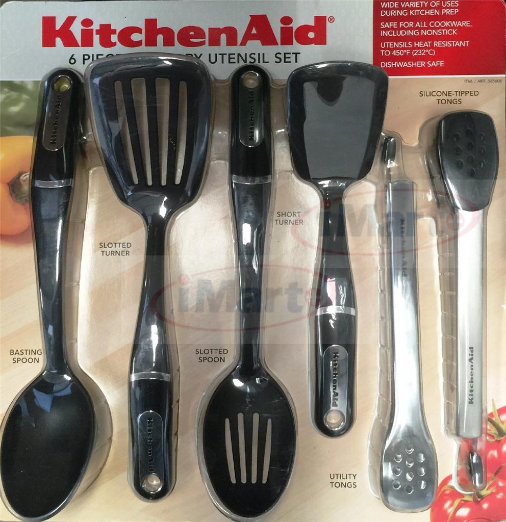 Kitchenaid 6pcs culinary utensil set tongs turner spoon for Kitchenaid 6 set
