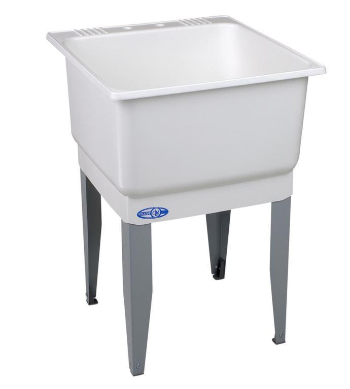Freestanding Utility Sink Laundry Tub Basin Floor Mount Wash Room Bowl ...