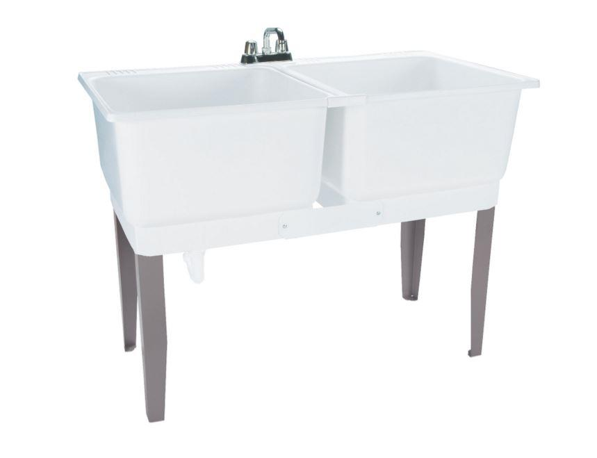 Double Basin Laundry Tub Freestanding Polypropylene Utility Sink Drain ...