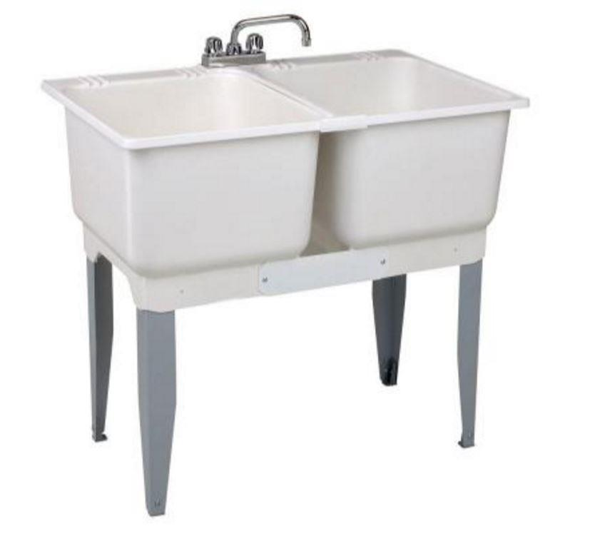 double bowl laundry tub 30 gal freestanding plastic