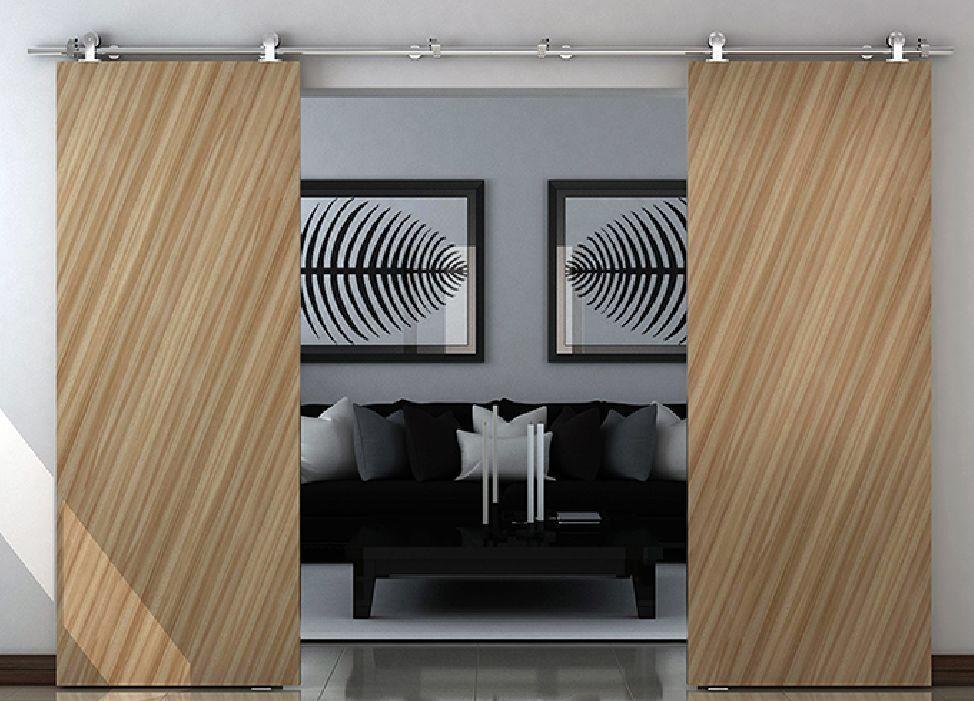 Modern stainless steel interior sliding barn wood door for Track doors interior