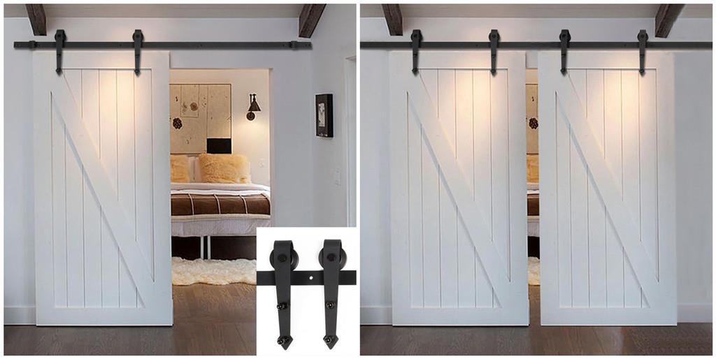 Double arrow shape sliding barn door hardware track kit 6 for 12 ft double barn door hardware