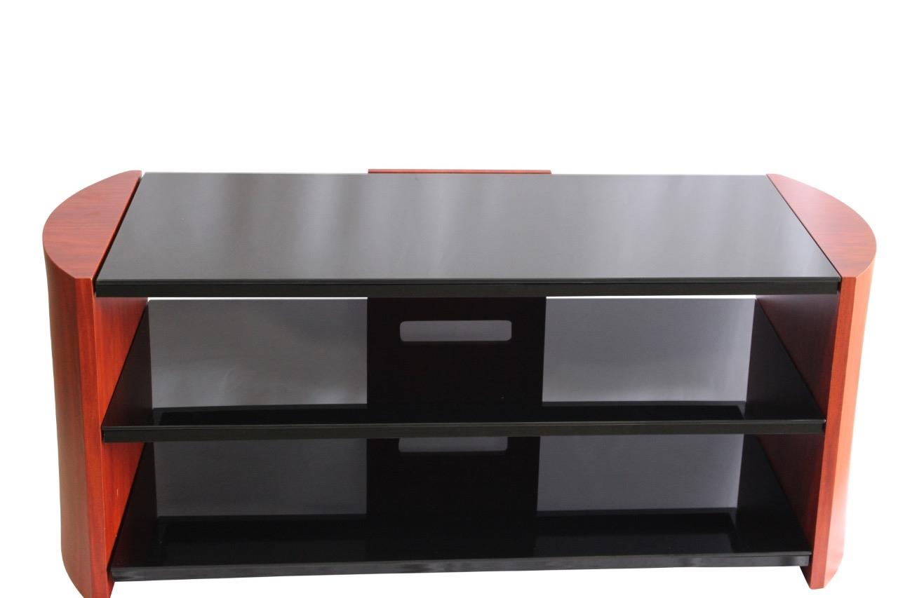 teak effect tv stand with tempered glass shelves ebay. Black Bedroom Furniture Sets. Home Design Ideas