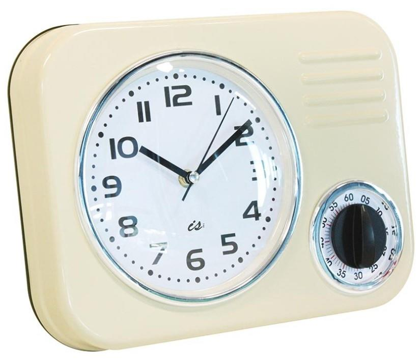 Wall clock kitchen retro metal with timer 1950s available - Black and white kitchen clock ...