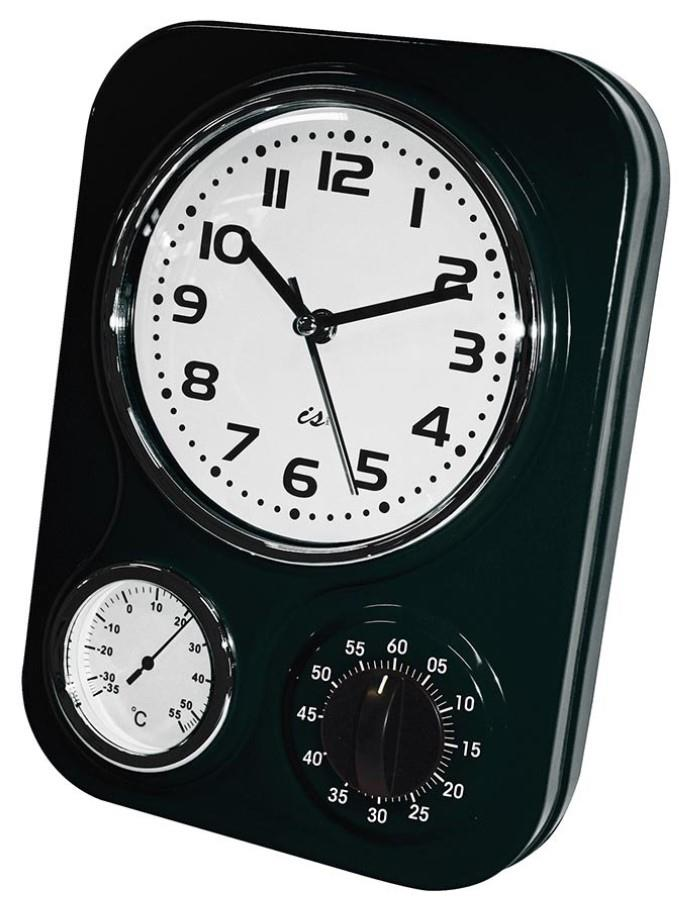 Wall clock kitchen retro 3 function metal in red black or - Black and white kitchen clock ...