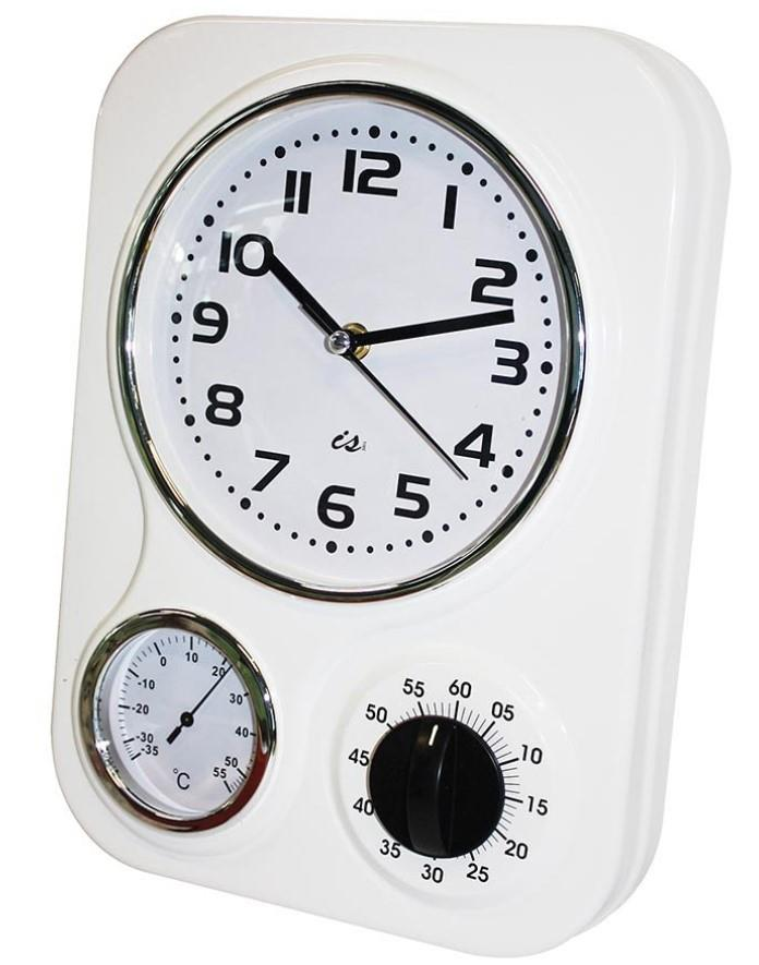 Wall Clock Kitchen Retro 3 Function Metal In Red Black Or