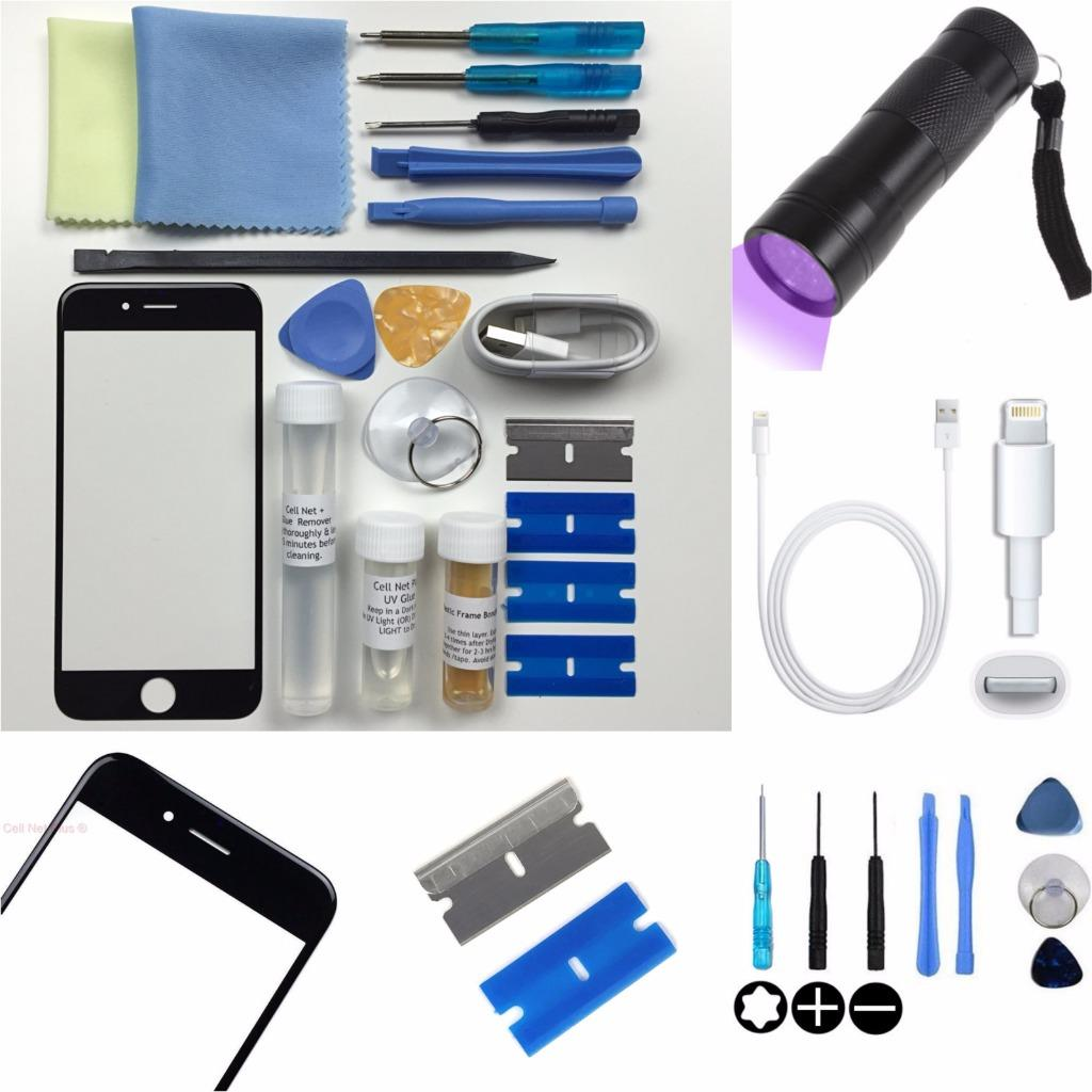 Apple iphone 6 4 7 inches front glass screen replacement repair kit black ebay - Kit reparation iphone 6 ...
