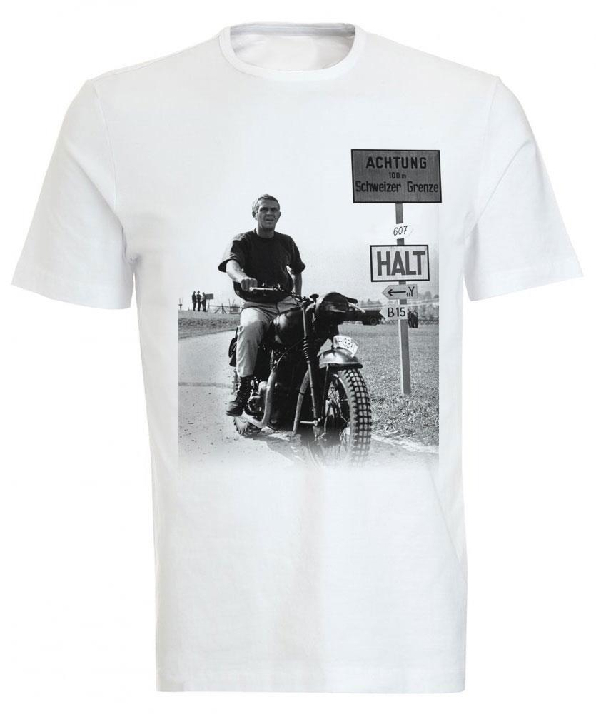 steve mcqueen 39 the great escape 39 classic motorcycle t shirt tee ebay. Black Bedroom Furniture Sets. Home Design Ideas