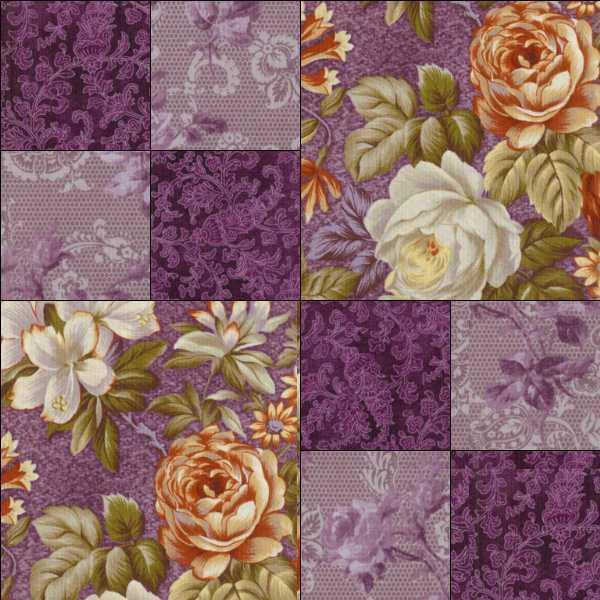 Quilt Patterns With Floral Fabric : RJR Arabella Rose Purple Eggplant Orange Floral Pre-cut Quilt Fabric Kit Pattern eBay